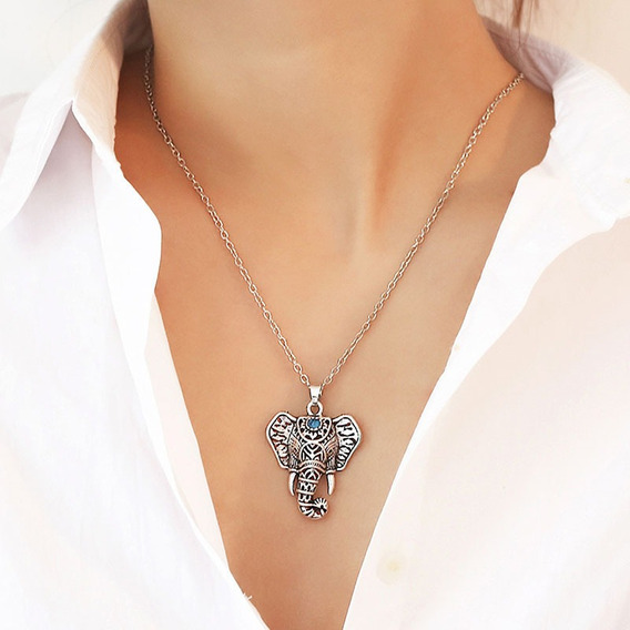 Collar + Dije Elefante Plateado Lapislazuli Exclusivo N-298
