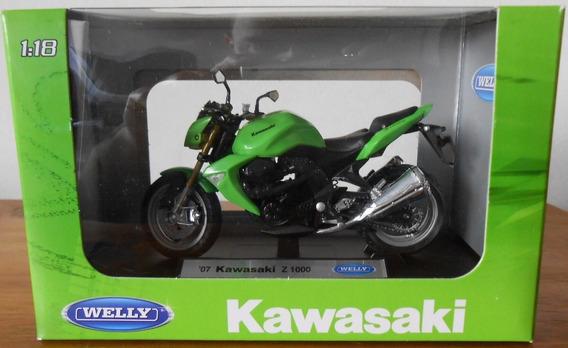 Moto Welly 1/18 Kawasaki Z1000 Verde Colección La Plata .