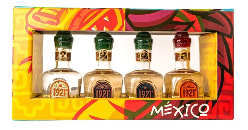 Imagen 1 de 4 de 1921 Tequila 100% Agave Combo 4 Miniaturas 50ml.