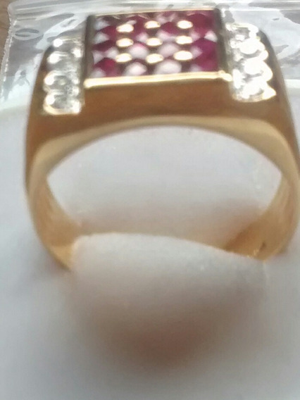 Anillo Caballero Diamante Y Rubí Oro Amarillo 18 Kts #31