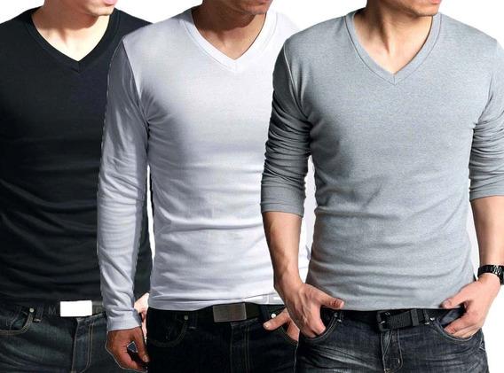 Kit 4 Blusas Masculina Manga Longa Gola V Slim Fit Camisetas