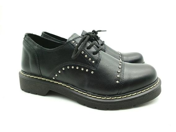 Zapato Mujer Acordonado Negro Urbano Moda Dama Doc-6 Cuotas