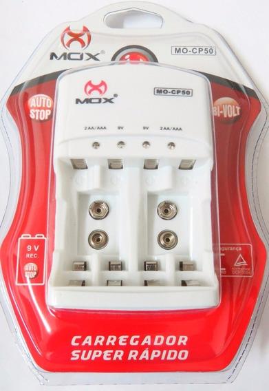 Carregador De Pilhas E Bateria 9v , Mox Mo-cp50