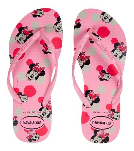 Chinelo Feminino Havaianas Slim Disney Minnie Rosa Macaron