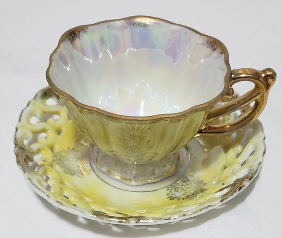 Taza De Té Porcelana Japonesa Tornasol Con Plato Calado