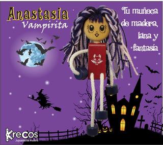 Muñeca Juguete De Madera Con Lana - La Vampirita