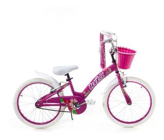 Bicicleta Rodado 20 Nena Canasto Y Flecos Guarda Barro