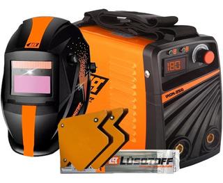 Soldadora Inverter Lusqtoff Iron 250 + Mascara + Electrodos + Escuadra Anti Stick Careta Fotosensible Maquina De Soldar