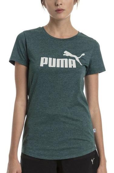 Puma Remera Ess+ Logo Heather Gris