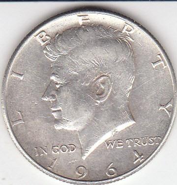Imagen 1 de 2 de Eeuu, Antigua Moneda De Plata Half Dollar 1.964