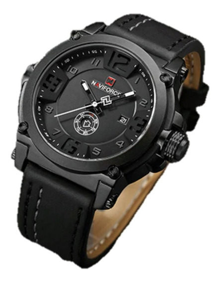 Relógio Masculino Naviforce Pulseira De Couro - Envio Em 24h