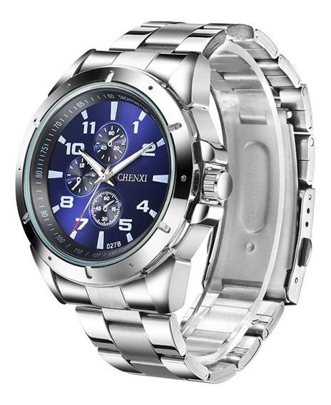 Reloj Para Hombre De Acero Inoxível Moderno Nuevo- Azul
