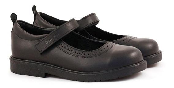 Zapatos Colegiales De Niñas De Cuero Negro Del 34 Al 40