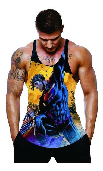 Camiseta Regata Cavada Heróis Musculação Academia Superman