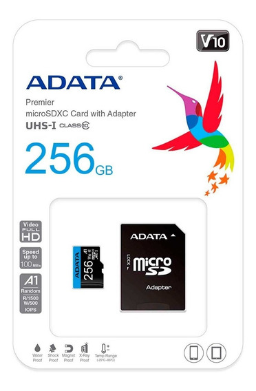 Memoria Micro Sdxc 256gb Adata Clase 10 Video Full Hd V10 Juegos A1