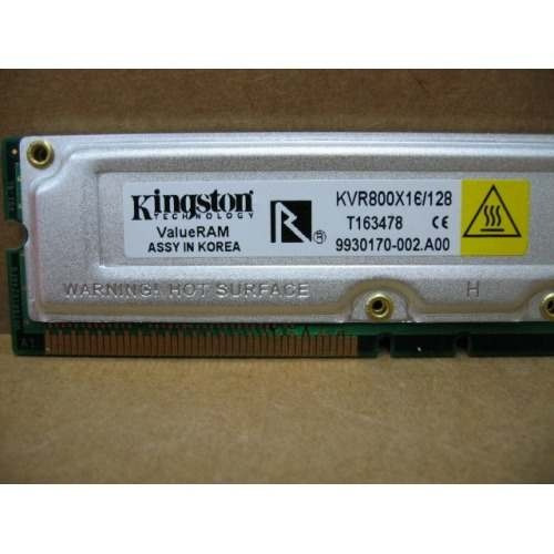 Lote 2 Kingston Valueram Kvr800x16-8/128mb Rdram 800mhz