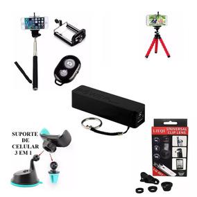 Kitão 5 Acessórios Celular 3 Lentes Tripé Pau Selfie Bateria