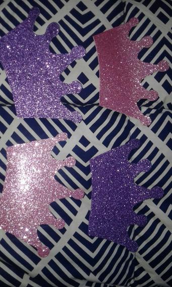 Coronas De Goma Eva Con Glitter X4