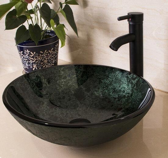 Cuarto De Baño Verde Templado Vidrio Vaso Sink Bowl Con-1198
