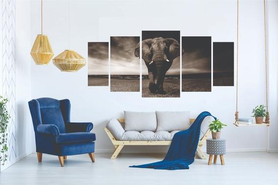 Kit Quadro Decorativo Sala Peças Mosaico Elefante