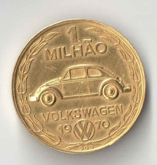 Moeda Medalha Comemorativa 1 Milhao De Fusca 1970 7 Gr Ouro