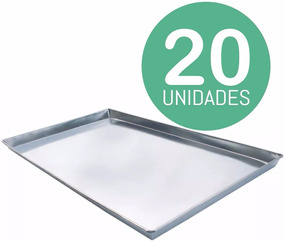 Kit 20 Unid Assadeiras Alumínio Liso Pão Doce Salgados 58x70