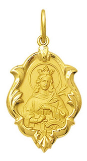 Medalha Nossa Santa Catarina Ouro 18k 750 1,5cm Verso Liso