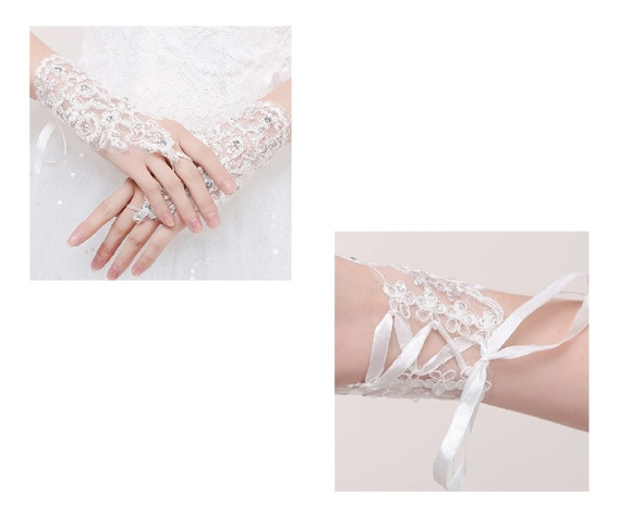 Luvas Noiva Casamento Debutante De Renda Branca Sem Dedo
