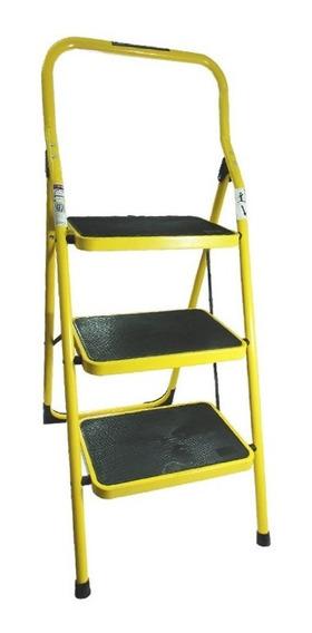 Escalera Personal De Acero 3 Esca Amarilla Peldaños Envio