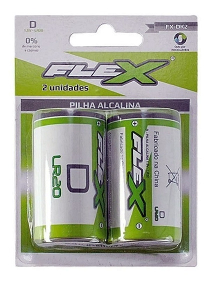 Pilha Alcalina Tipo D Grande P/ Brinquedo Flex Lr20 C/2