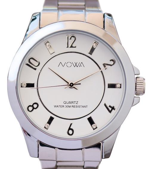 Relógio Feminino Grande Nowa Com Strass Lançamento +nf