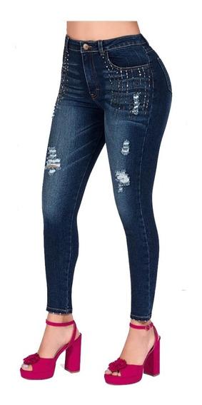Cklass Dama Jeans Levanta Pompa Pedrería Mezclilla 019-98