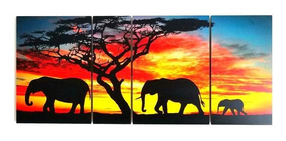 Cuadro Elefantes Africanos Étnico Paisaje Tríptico Políptico