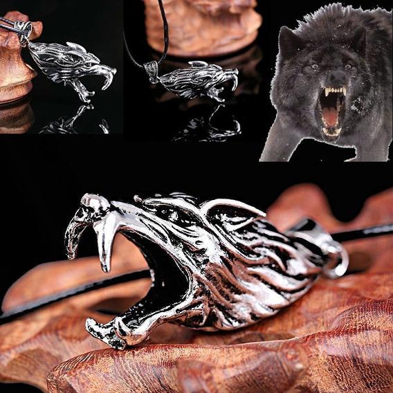 Colar Com Pingente Titânio Cabeça De Lobo Angry Wolf +brinde