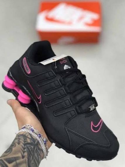 Tênis Sxhox 4 Molas Preto Rosa Pink Importado Promoção Nk11