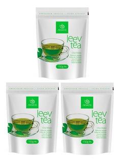 Kit Com 3 Chá Verde Akmos Emagrecedor Leev Tea 450g Total
