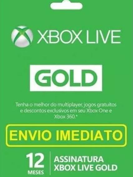 Xbox Live Gold 12 Mês - Xbox 360 E One Br - Envio Imediato