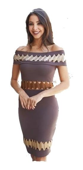 Vestido Renata Em Bandagem Com Cordão Bege
