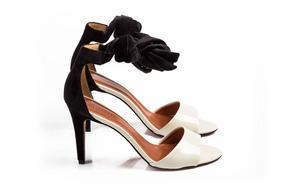 Sandália De Amarração Branca E Preta