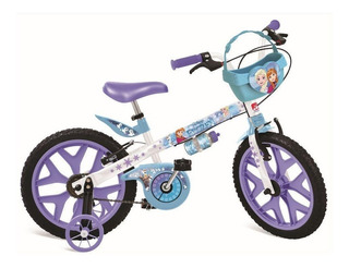 Bicicleta Infantil Bandeirante Frozen Aro 16 Cesta Removível