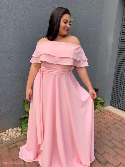 Vestido Longo Rosa Madrinha De Casamento Plus Size Ciganinha