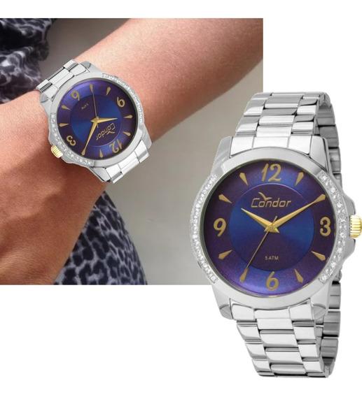 Relógio Feminino Condor Prateado Strass Grande Co2035kon/3a