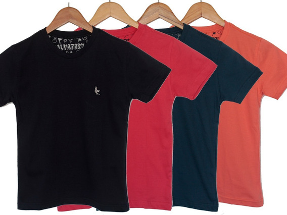 Camiseta Básica Infantil - Kit Com 4 Unid 100% Algodão
