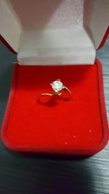 Anel Solitario Em Ouro Amarelo Com Diamante