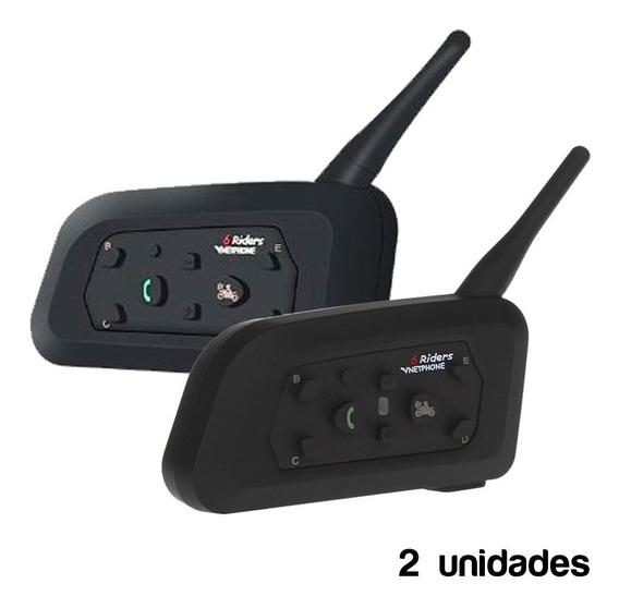 Intercomunicadores Moto X Par Bluetooth Casco V6 1200m Cuota