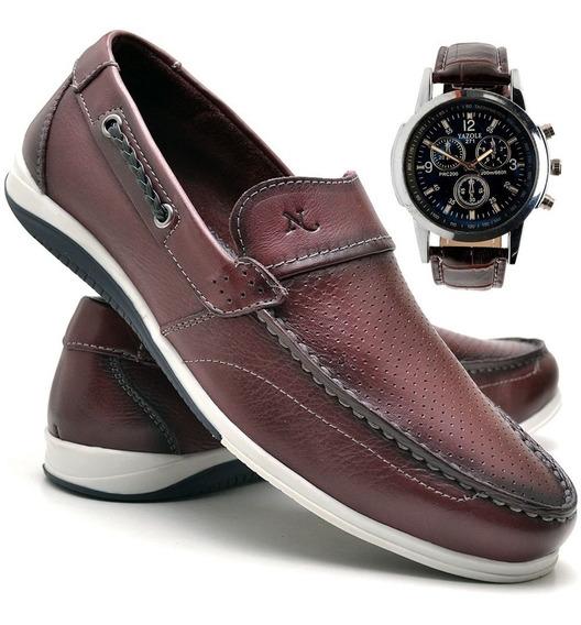 Sapato Casual Mocassim Com Relógio Nevano 5403 Bordo/vinho