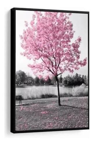 Quadro Decorativo Árvore Rosa Paisagem Decoração Com Moldura