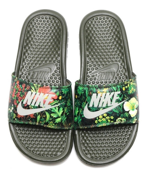 Ojotas Nike Mujer Benassi Jdi Floral Cargo Khaki