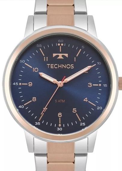 Relógio Technos Femenino Miltifunção Prata/rose 6p89hz/5k