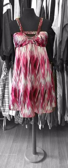 Vestido Importado De Fiesta Rosa Estampado Con Piedras